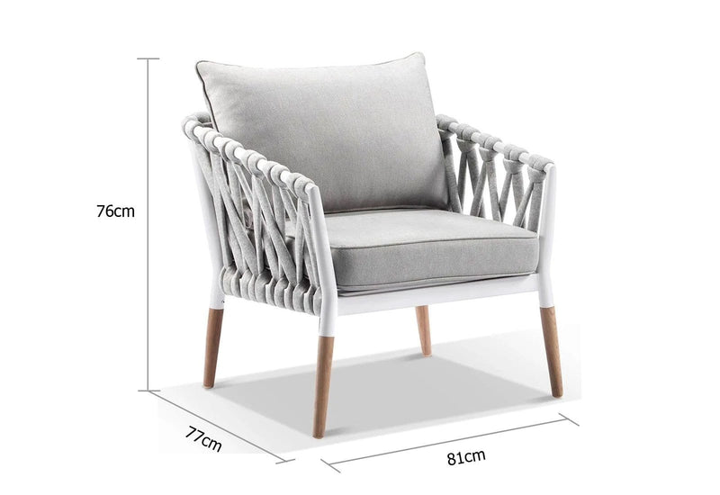 Silas Outdoor Ivory Rope Arm Chair