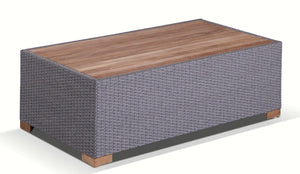 Java Outdoor Wicker Teak Top Rectangle Coffee Table