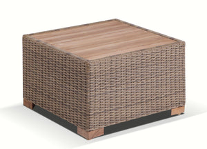 Java Outdoor Wicker Teak Top Square Side Table