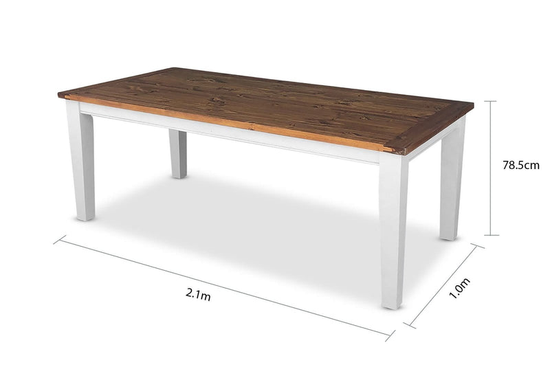 Leura 8 Rectangle Table in Two Tone - Shabby Chic Timber Table In Distressed White With Honey Timber Top