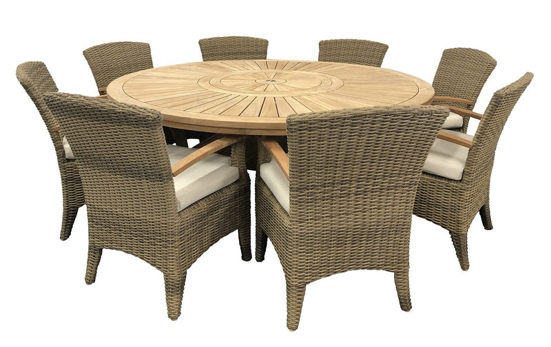 Solomon 1.8m Round Outdoor Teak Timber Dining Table with Kai Wicker Chairs with Lazy Susan