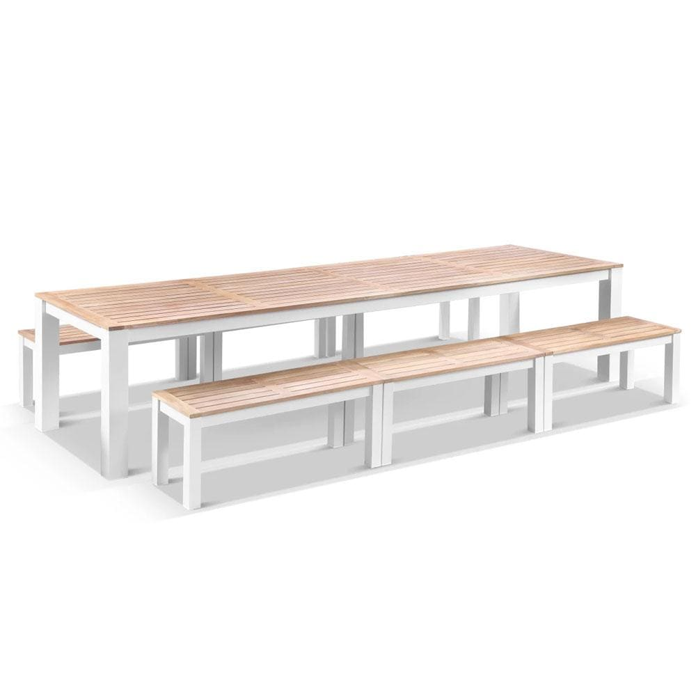 Balmoral 3.55m Outdoor Teak Top Aluminium Table with Bench Seats