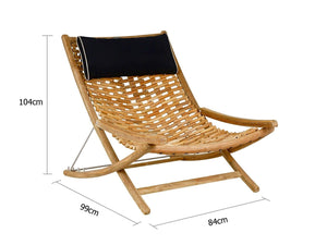 Large Deluxe Kono Solid Teak Timber Adjustable Garden Sun Lounger