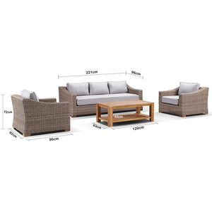 Retreat 3+1+1 Seater Lounge Setting with Coffee Table