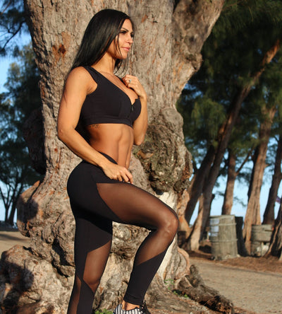 Mesh Regular Waist Leggings - Just Be Yoo