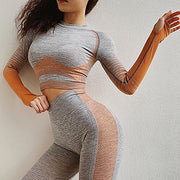 Set: Seamless Long Sleeve Crop Top and Leggings - Just Be Yoo