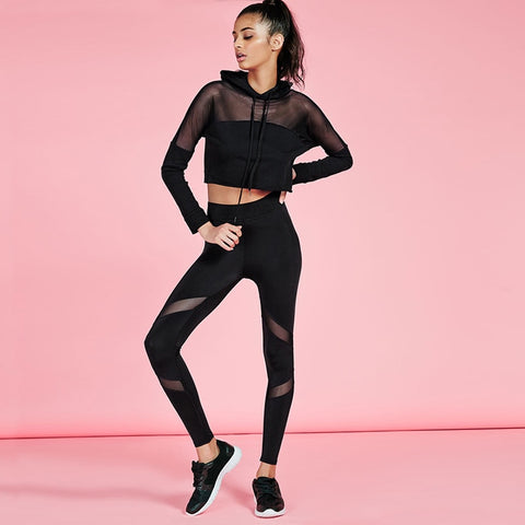 Set: Cropped Mesh Top with matching Regular Waist Leggings - Just Be Yoo