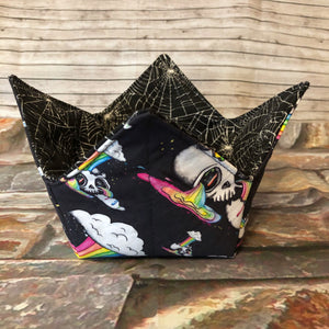 Portable Yarn Bowl - Rainbow Skulls