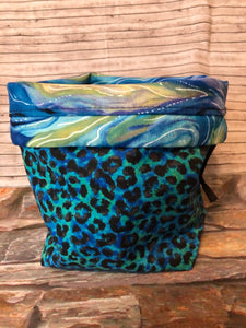 Sock Satchel Small - Green Leopard