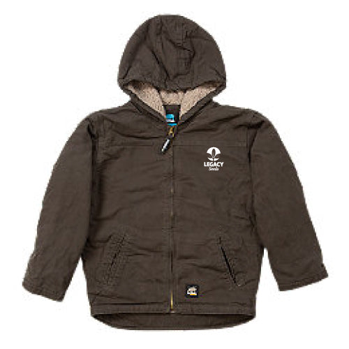 Youth Softstone Hooded Coat (Sherpa) w/ Embroidery