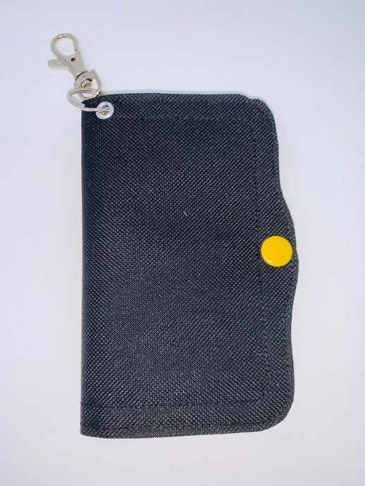 Face Mask Holder - Black Plasticized Canvas Exterior/Yellow Interior