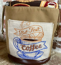 "Load image into Gallery viewer, Large Yarn Bag W/Divider - ""But First, Coffee"" embroidered on front exterior pocket (#1)"