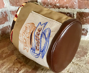 "Large Yarn Bag W/Divider - ""But First, Coffee"" embroidered on front exterior pocket (#1)"