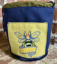 "Load image into Gallery viewer, Large Yarn Bag W/Divider - ""Bee Happy"" embroidered on front exterior pocket"