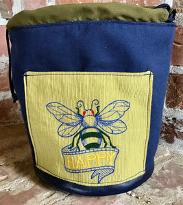 "Large Yarn Bag W/Divider - ""Bee Happy"" embroidered on front exterior pocket"