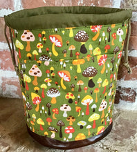 "Load image into Gallery viewer, Large Yarn Bag W/Divider - ""Woodlands Mushrooms"" with exterior fabric pocket"