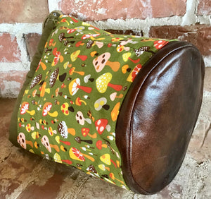 "Large Yarn Bag W/Divider - ""Woodlands Mushrooms"" with exterior fabric pocket"