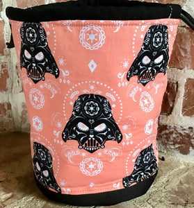 "Large Yarn Bag  - ""Star Wars - Darth Vader Sugar Skulls - Pink"""