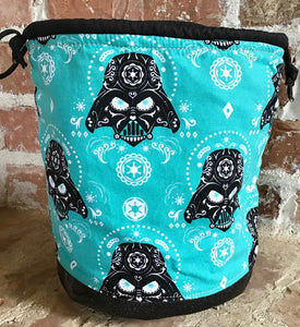 "Large Yarn Bag W/Divider - ""Darth Vader Sugar Skulls - Turquoise"""