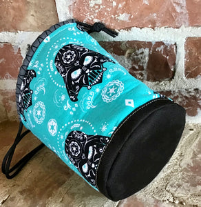 "Medium Drawstring Project Bag - ""Star Wars Sugar Skulls - Darth Vader, Turquoise"""