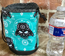 "Load image into Gallery viewer, Medium Drawstring Project Bag - ""Star Wars Sugar Skulls - Darth Vader, Turquoise"""