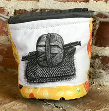 "Load image into Gallery viewer, Personal Size Drawstring Project Bag - ""Knitting Needles and Yarn"" - Yellow"