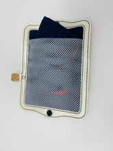 Load image into Gallery viewer, Face Mask Holder - Cork with Silver Fleck Exterior/Navy Blue Interior
