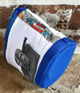 "Personal Size Drawstring Project Bag - ""Knitwit"" - Blue"