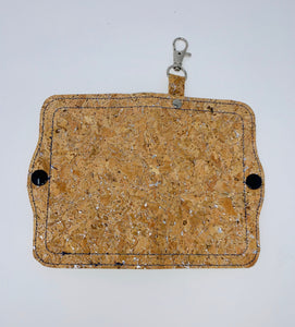 Face Mask Holder - Cork with Silver Fleck Exterior/Navy Blue Interior