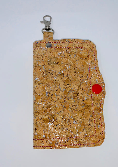 Face Mask Holder - Cork with Silver Fleck Exterior/Red Interior