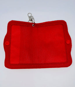 "Face Mask Holder - Red ""Sparkle"" Vinyl Exterior/Red Interior"