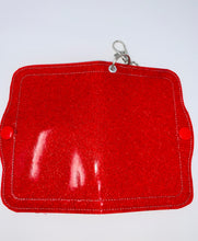 "Load image into Gallery viewer, Face Mask Holder - Red ""Sparkle"" Vinyl Exterior/Red Interior"