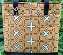 "Load image into Gallery viewer, Open Tote, ""Geometric Designs - Brown"""
