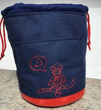 "Load image into Gallery viewer, Large Yarn Bag W/Divider - ""Sock Monkey"" embroidered on blue canvas"