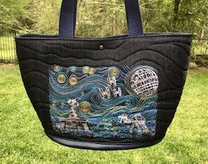 Tote (Market Day Bag) Star Wars, Starry Night, Embroidered on Glitter Denim