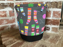 "Load image into Gallery viewer, Large Yarn Bag W/Divider - ""Darn Socks"""