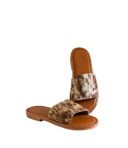 LUNA COWHIDE TAN & WHITE SANDALS