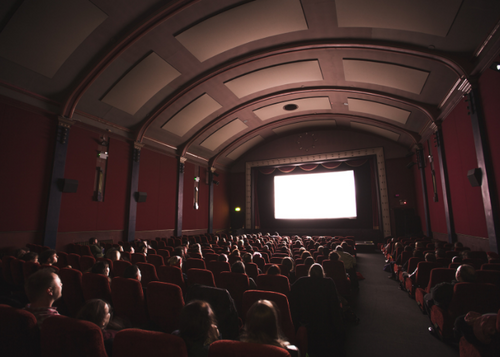epic movie theatre with high ceilings
