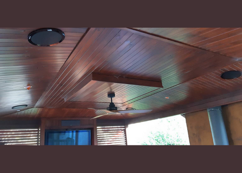Timber ceiling with ceiling speakers