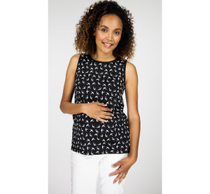 Black Swallow Print Maternity Top