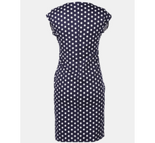 Load image into Gallery viewer, Navy Blue Polka Dot Maternity Dress