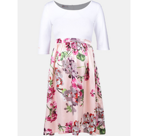 White & Pink Floral Maternity Dress