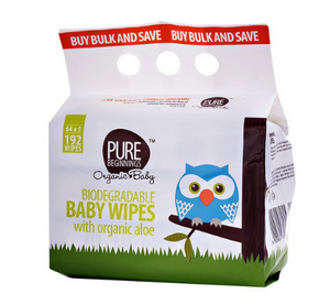 Pure Beginnings Baby Wipes with organic aloe (192 wipes)