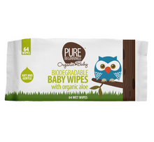 Load image into Gallery viewer, Pure Beginnings Baby Wipes with organic aloe (64 wipes)