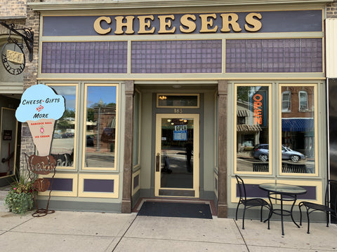 front door of artisan cheese store in Stoughton, WI