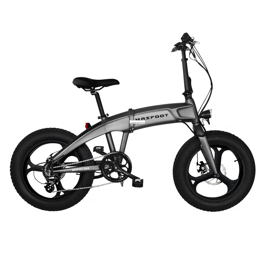 Integral Wheel Electric Folding Bike 500W Maxfoot MF-19 Grey