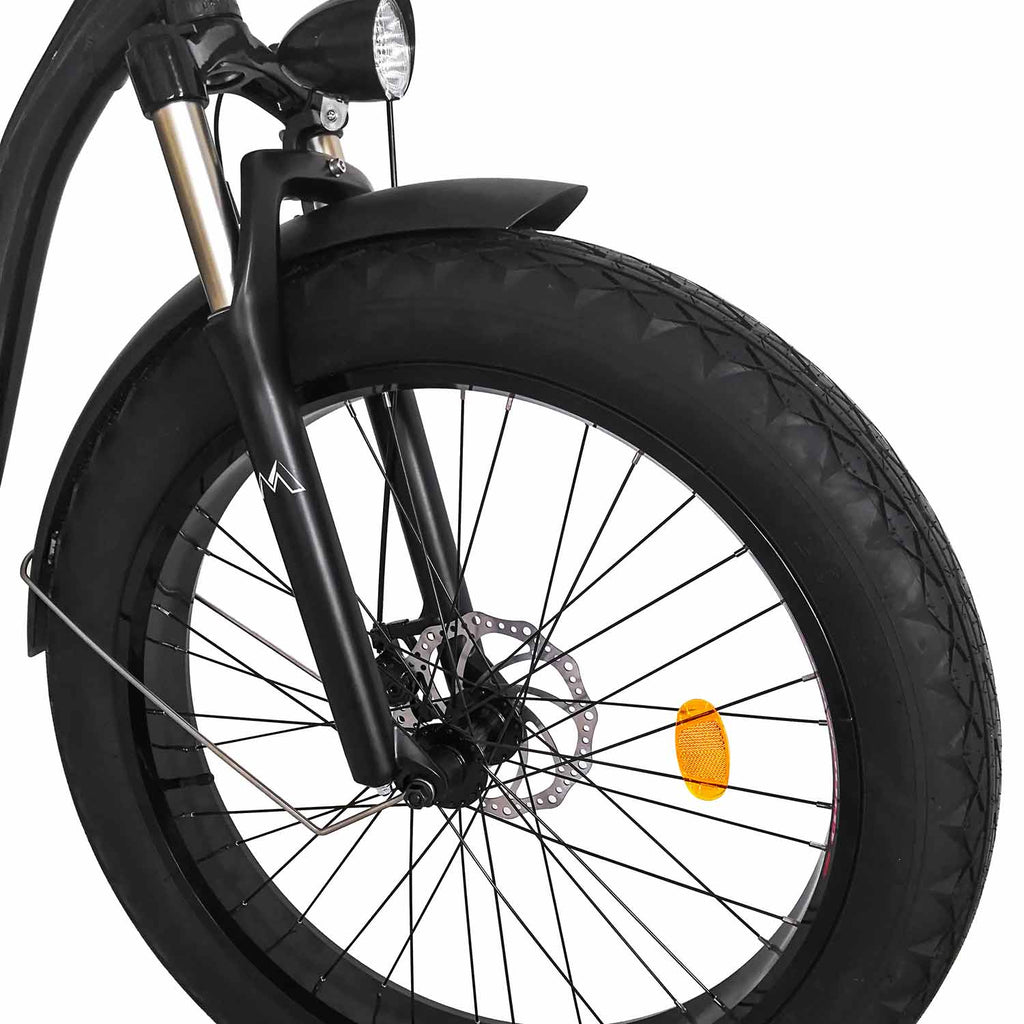 500W Fat Tire Electric Cruiser Bike Maxfoot MF-18 Front Wheel
