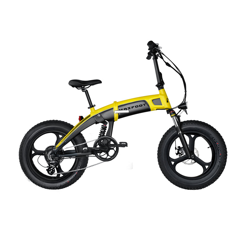 Integral Wheel All Terrain Electric Folding Bike 500W Maxfoot MF-19 Yellow