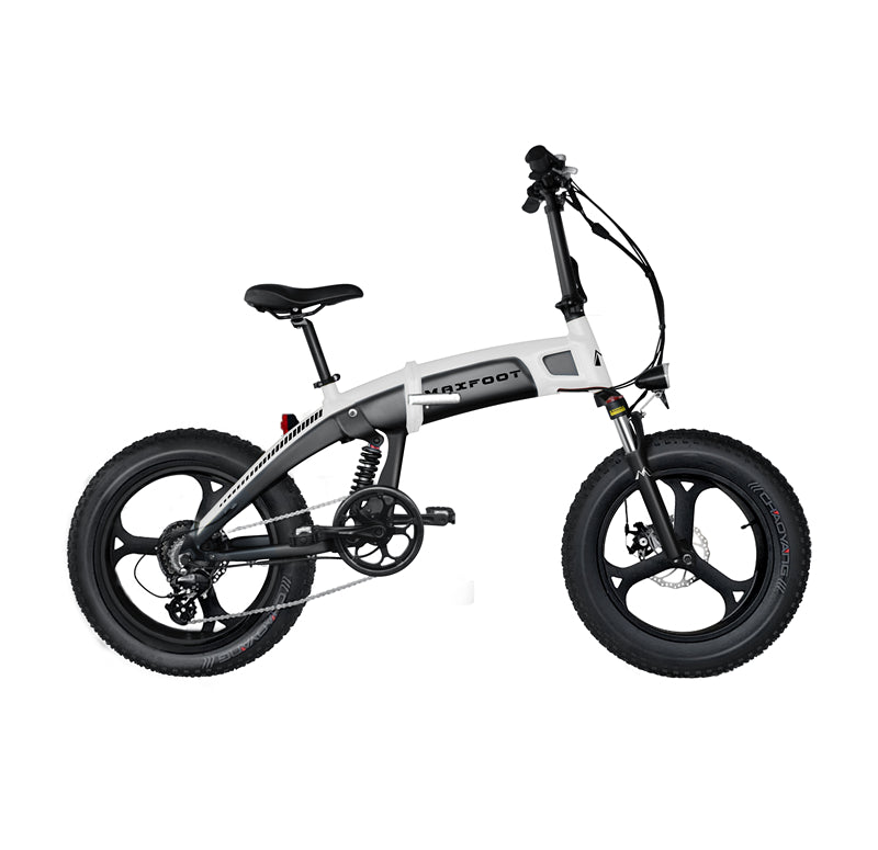 Integral Wheel All Terrain Electric Folding Bike 500W Maxfoot MF-19 White