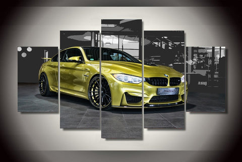 Yellow sports BMW M4 Sports Car Canvas